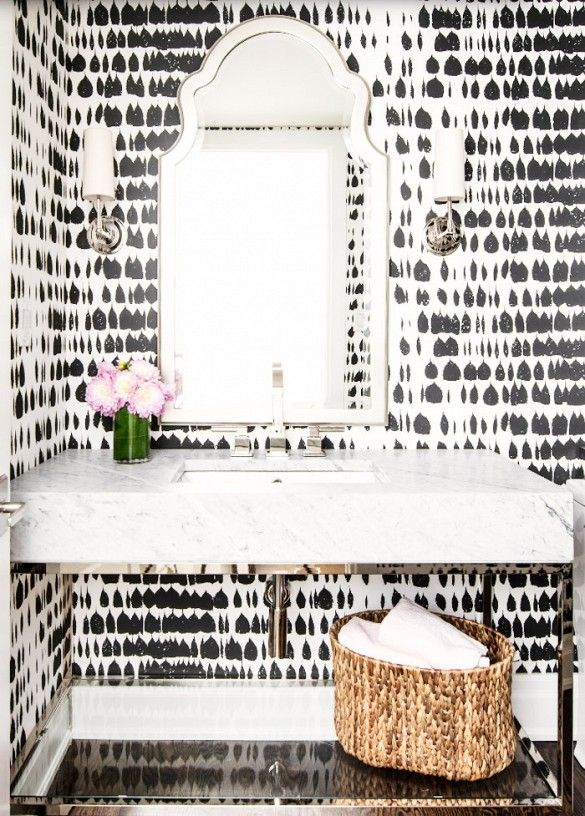 Powder Room Black and White Wallpaper Inspiration