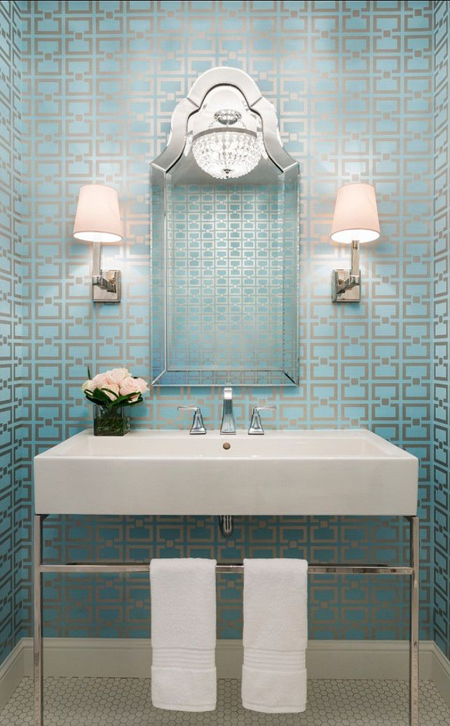 Powder Room Blue Wallpaper Inspiration