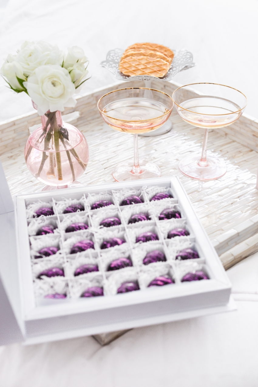 Prettiest Birthday Dessert Ideas - Boxed Chocolate and Champagne