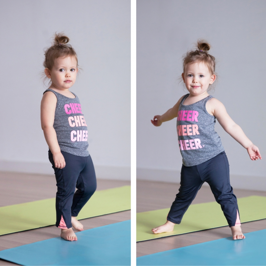 Reese doing baby yoga in Old Navy Atcivewear