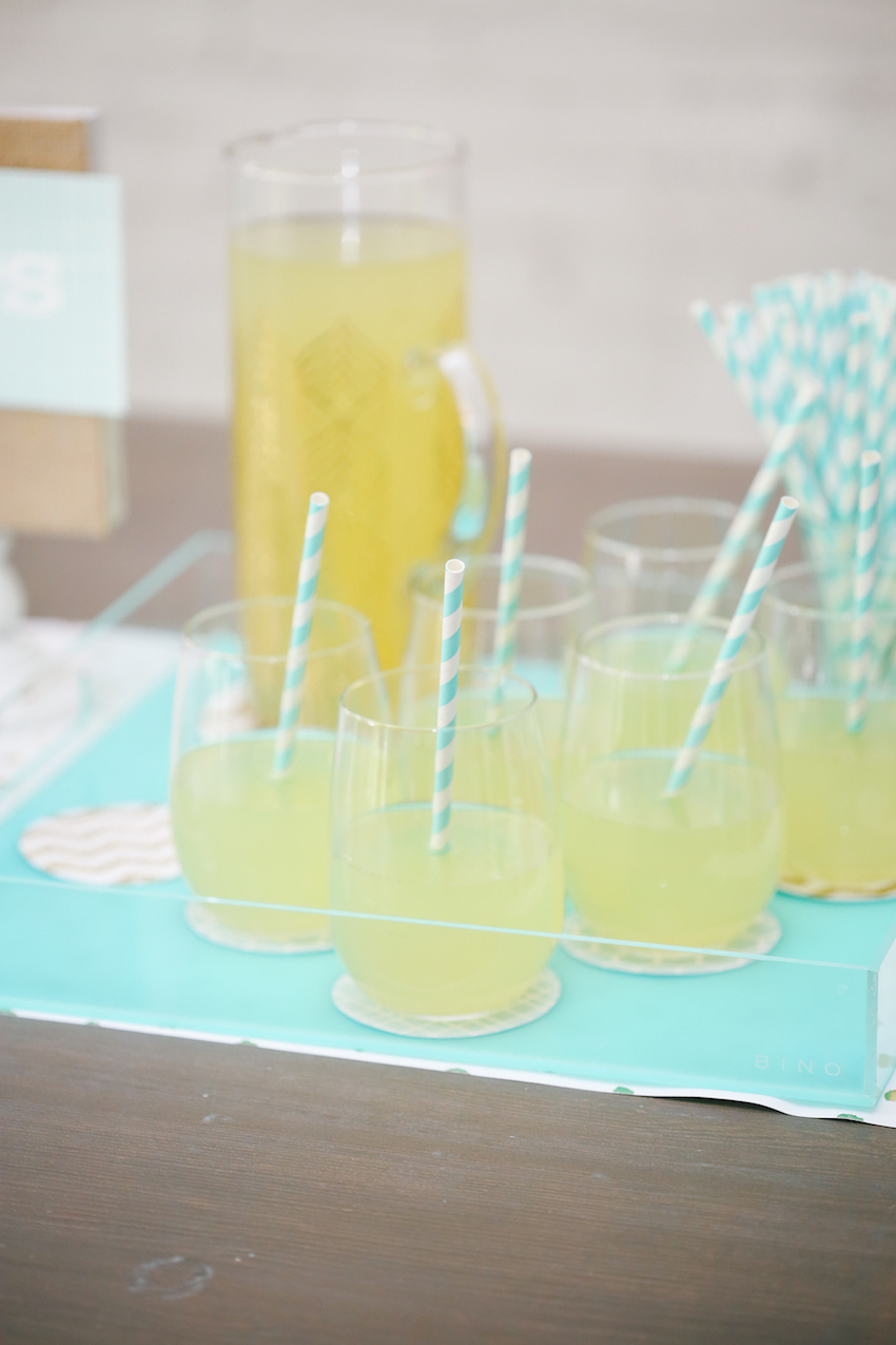 Fresh Lemonade with blue and white striped straws