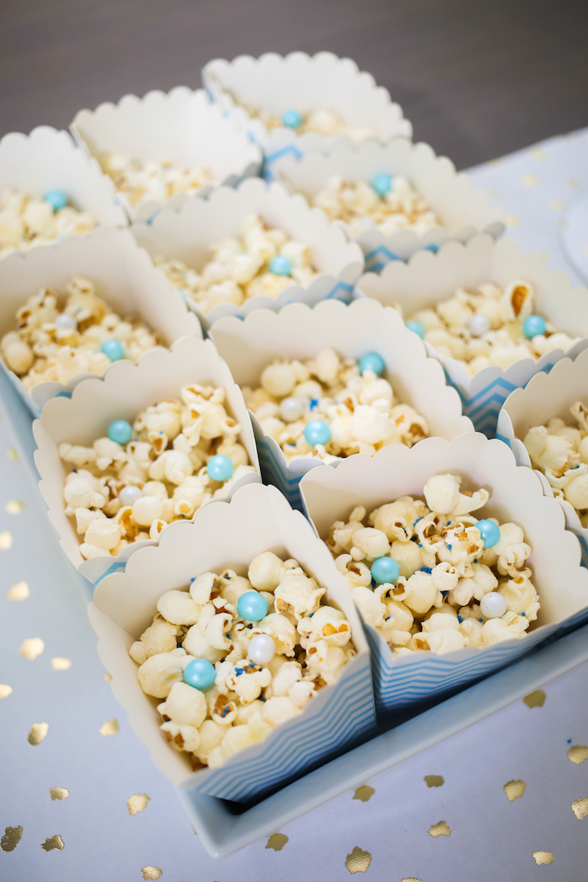 Popcorn with Blue Sprinkles and Candies on FashionableHostess.com