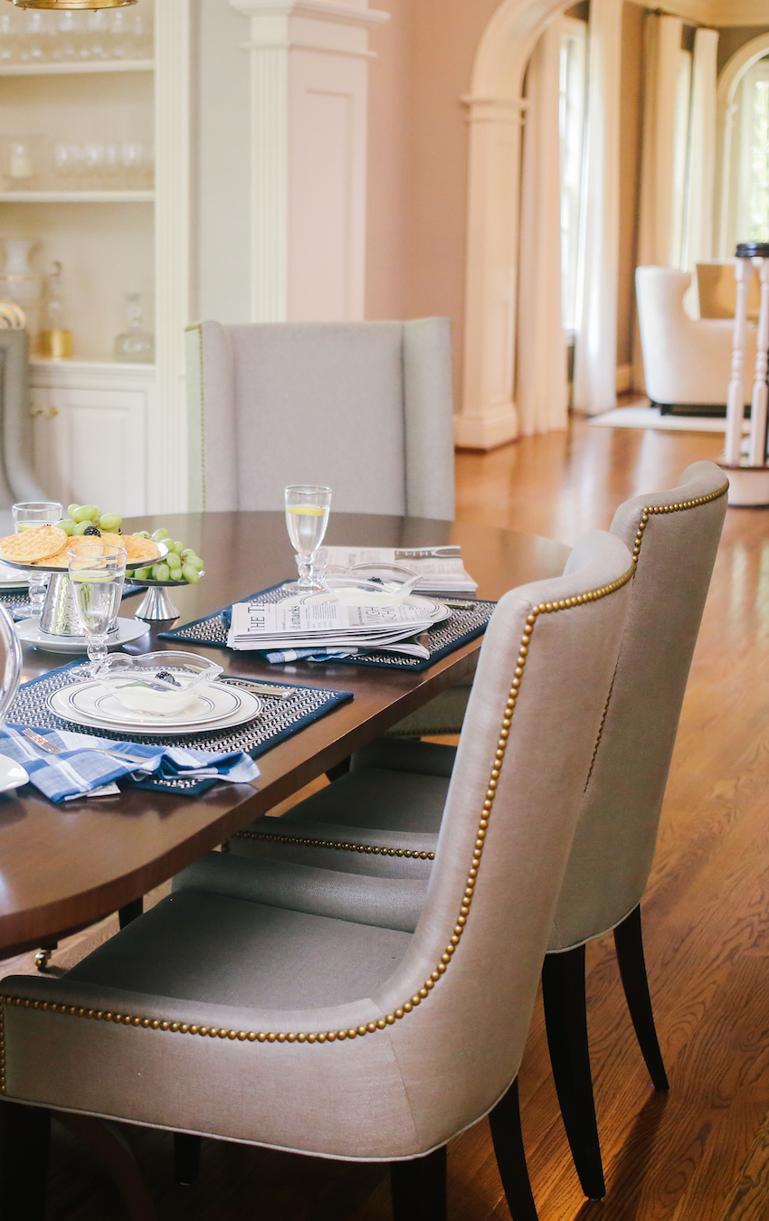 Studded Dining Chairs in the Chateau FH Dining Room by Fashionable Hostes
