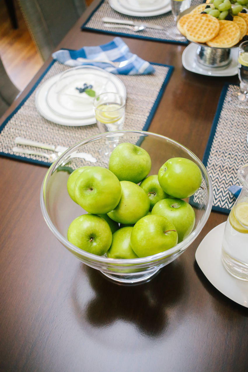 Bowl of Green Apple Centerpiece on Fashionable Hostess