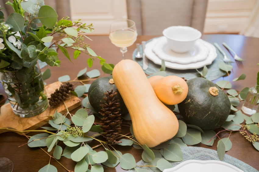 DIY squash and pumpkin centerpieces Fall Tablescape Inspiration by FashionableHostess