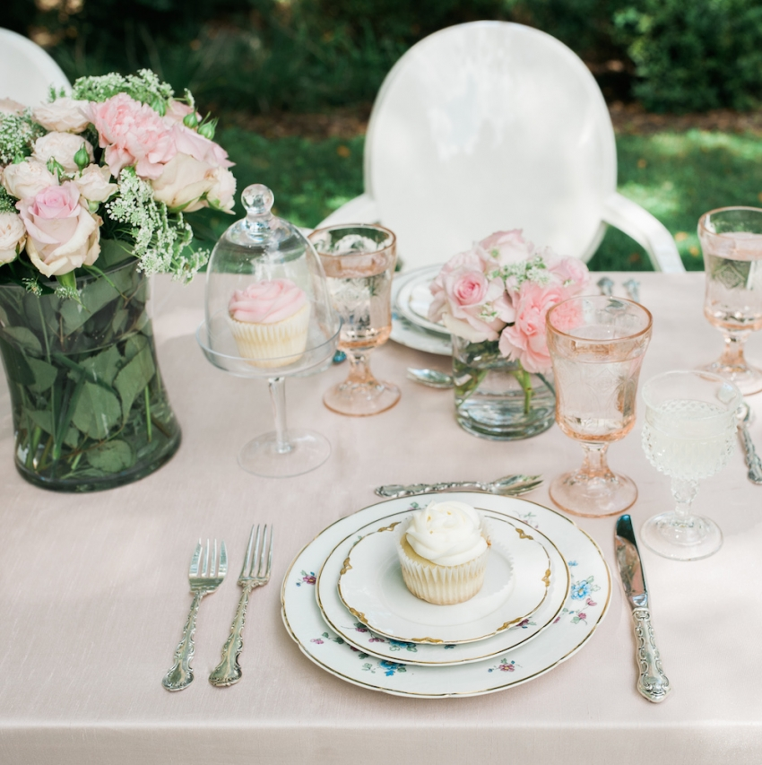Closeup of Blush Tablescape by Fashionable Hostess