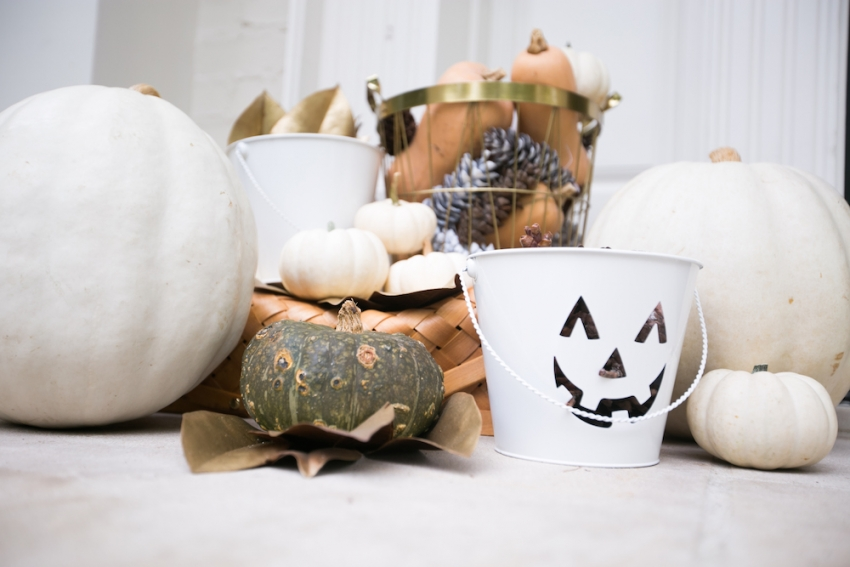 Classic Fall Decorations with Basket of Gourds and Pinecones on Fashionable Hostess