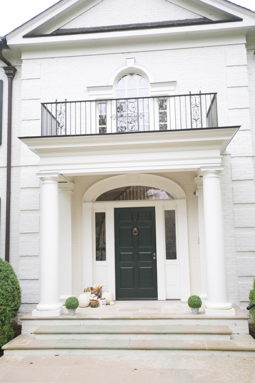 Classic White Southern Home with Columns Decorated for Fall on Fashionable Hostess