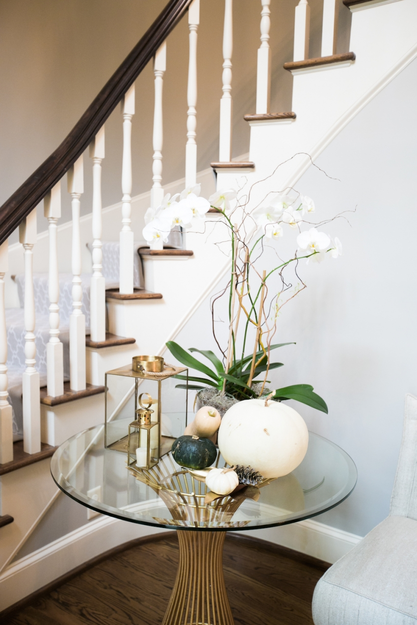 Foyer table set for Fall in front of Gorgeous Stairway and Runner on Fashionable Hostess