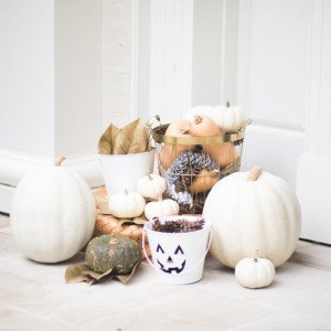 Fun Fall Decor on Entry of Classic Southern Home on Fashionable Hostess
