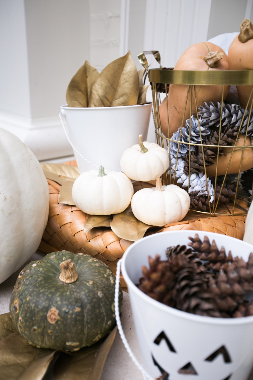 Pumpkins, Gourds, and Gold Leaves on Fashionable Hostess