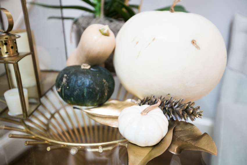 decorate your foyer table with white pumpkins on Fashionable Hostess