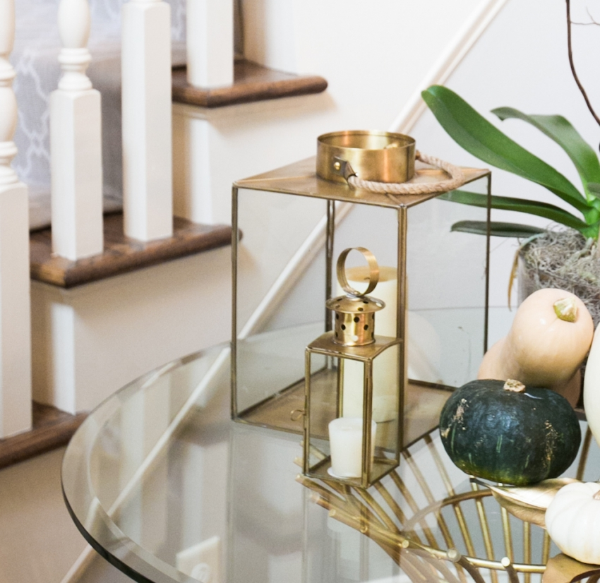 Gold Pottery Barn Lanterns on your Foyer Table on Fashionable Hostess