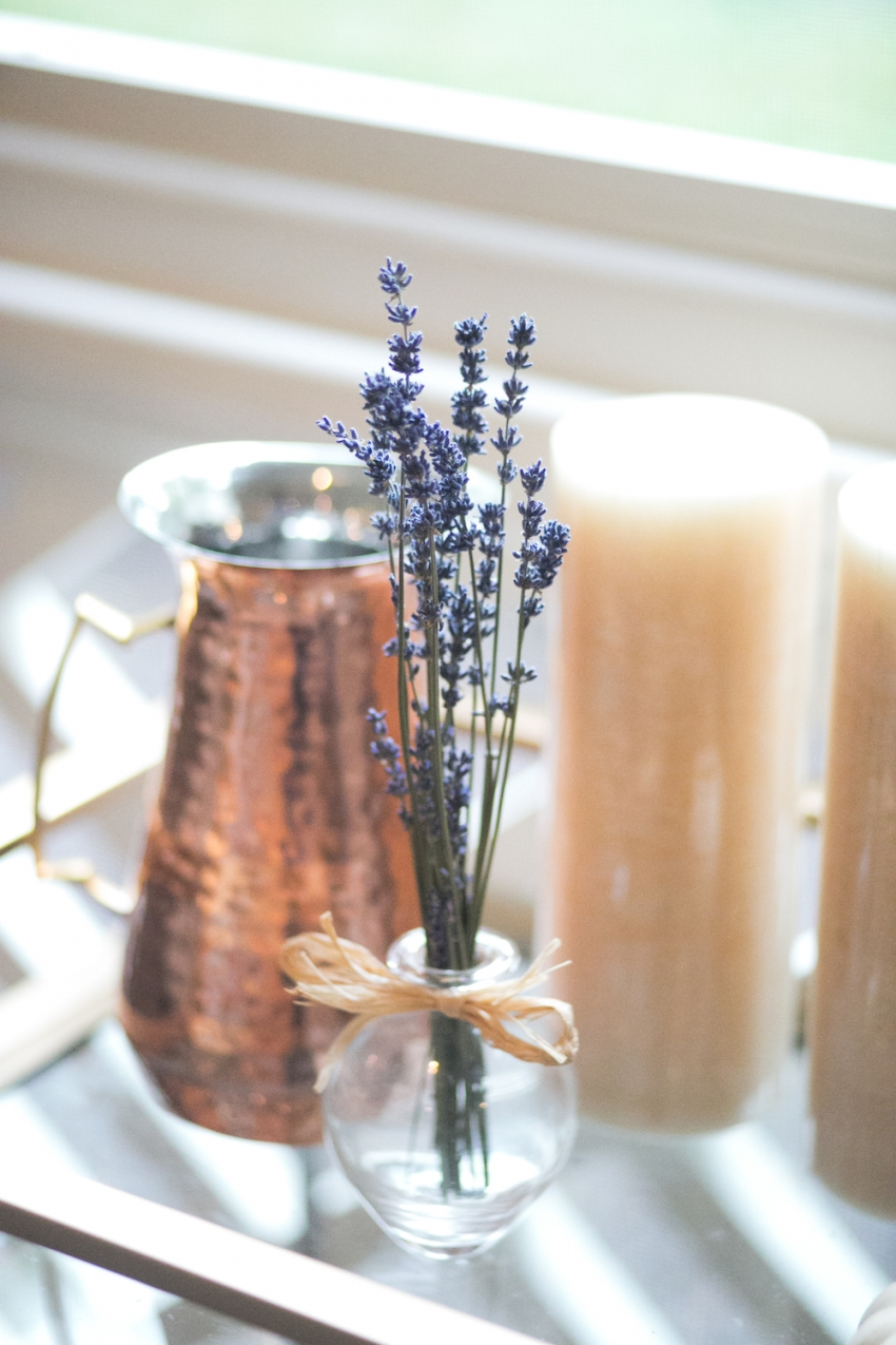 Fall Bar Cart on Patio with Hammered Copper and Lavendar on Fashionable Hostess