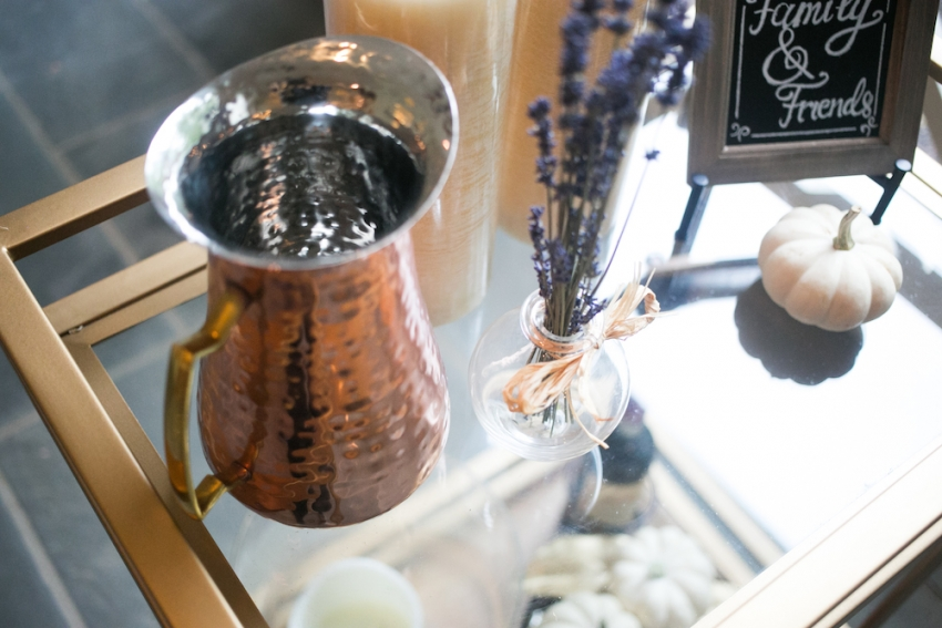 Hammered Copper with Lavendar on Bar Cart on Fashionable Hostess
