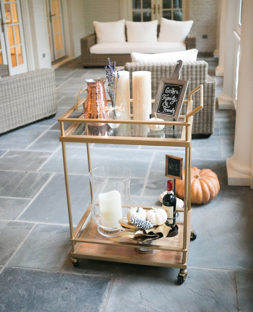 Southern Classic Patio with Fall Bar Cart on Fashionable Hostess copy