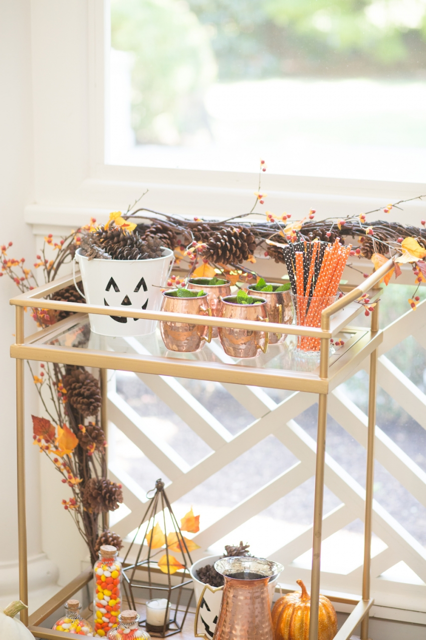 Decorating for Halloween - styling your bar cart by Fashionable Hostess 2