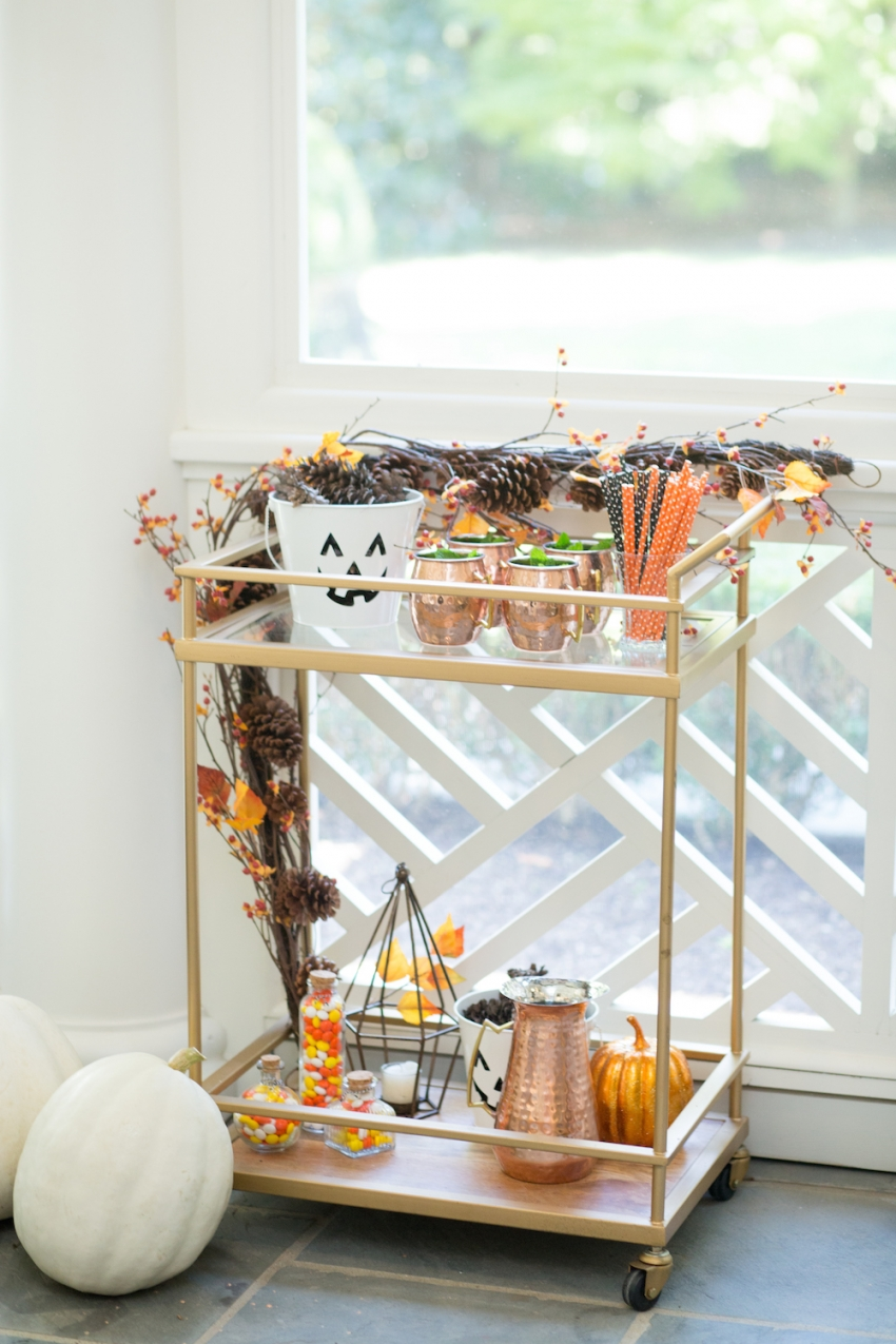 Decorating for Halloween - styling your bar cart by Fashionable Hostess 4