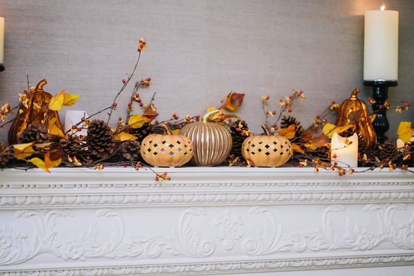 Classic Southern Fireplace Mantel filled with Ceramic and Glitter Pottery Barn Pumpkins with Pillar Candle Candleholder on Fashionable Hostess