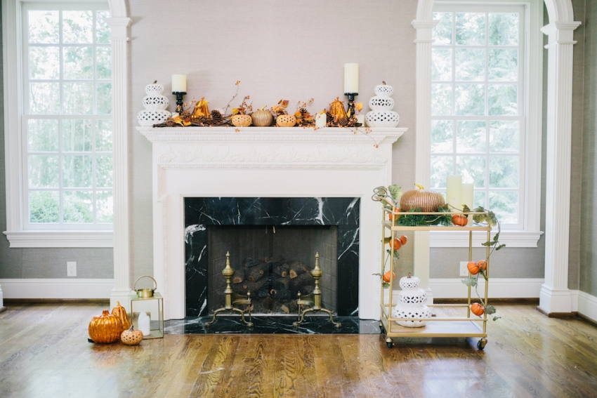 Fall Fireplace Mantel Covered with a Autumn Berry Garland, Ceramic Glitter and Mercury Pumpkins has Pottery Barn Candleholders with Target Bar Cart on Fashionable Hostess