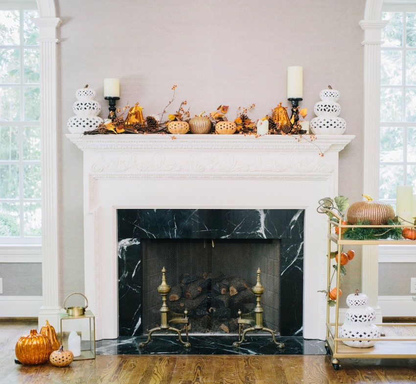 Decorate your fireplace mantel for Halloween with FashionableHostess.com