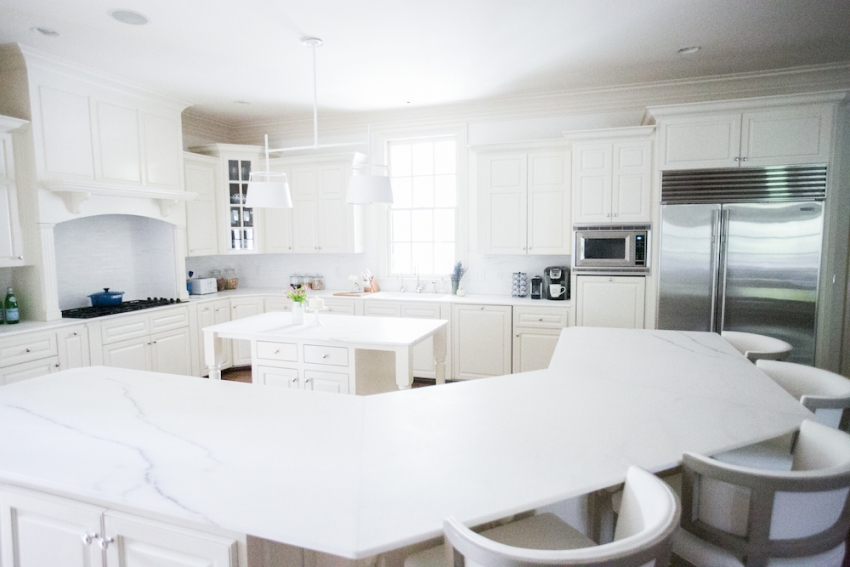 Amazing White Marble Countertops and White Urban Electric Light Fixture with White Cabinets on Fashionable Hostess