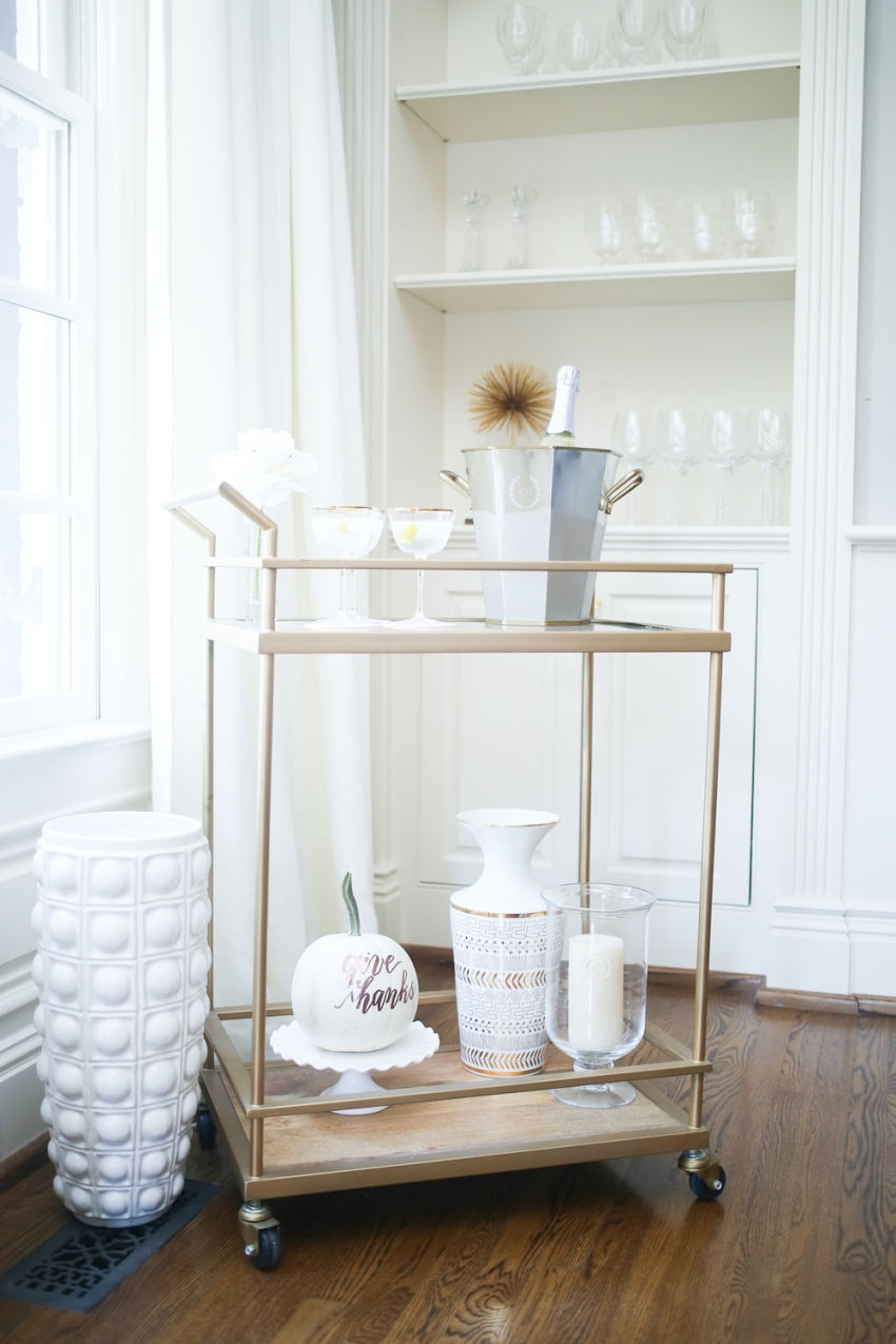 Decorate your bar cart for the Holidays by Fashionable Hostess
