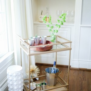 Bar Cart Decor + Rosemary Gin Fizz Cocktail - in Mint Julep Glasses on Fashionable Hostess