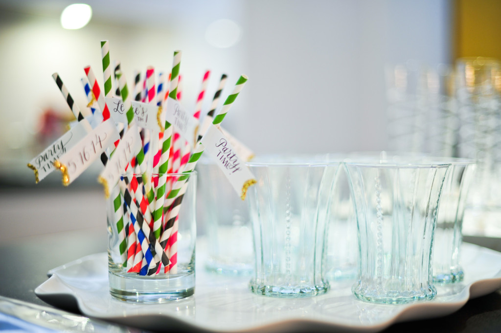 Blue Green Red Pink And Black Striped Paper Straws