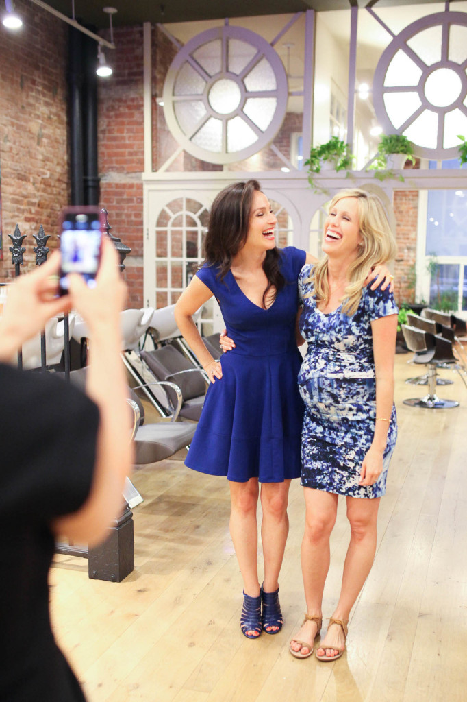 92032900bc5bc ... Arielle Haspel and Amanda Gluck at the FH Beyond Mom Event Nicole Miller  Short Sleeve Twist Front Maternity Dress at 8 months pregnant