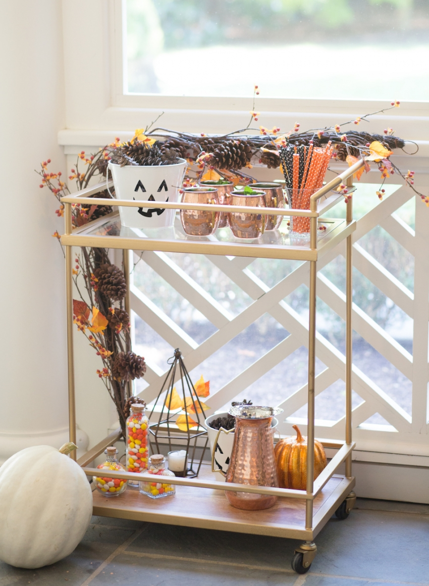 Decorate your bar cart for halloween fashionable hostess - How to decorate a bar ...